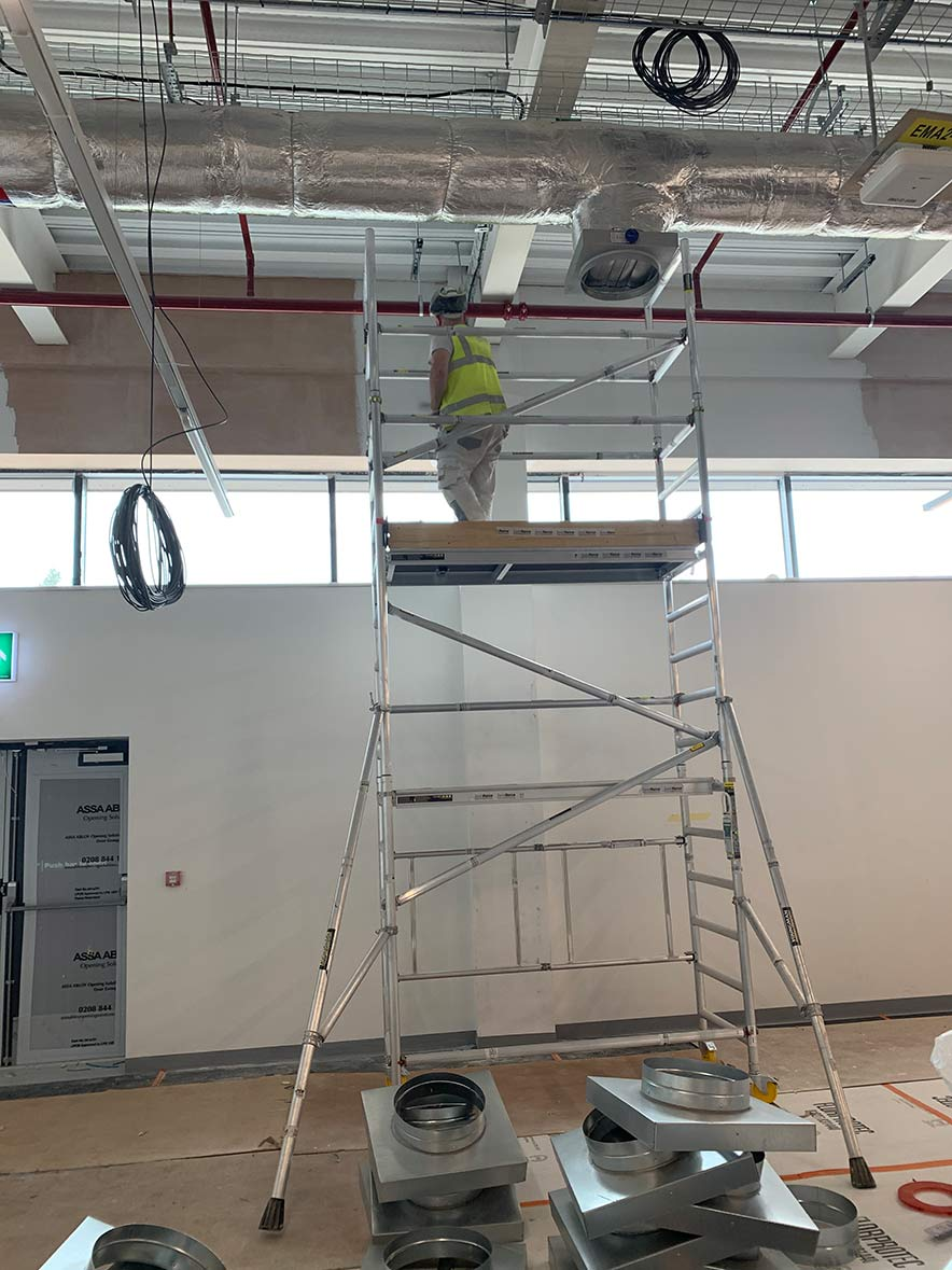 Mist Coat application using our access scaffold with a new office building.